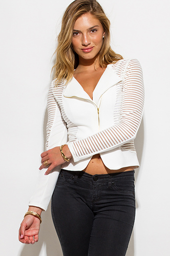 $20 - Cute cheap stripe mesh sexy club bodysuit - ivory white sheer stripe mesh contrast asymmetrical zip up moto blazer jacket top