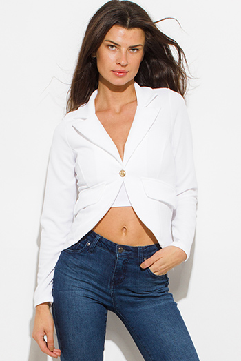 $15 - Cute cheap white satin faux leather trim zip up long sleeve bomber jacket top - ivory white single golden button long sleeve faux pockets fitted blazer jacket top