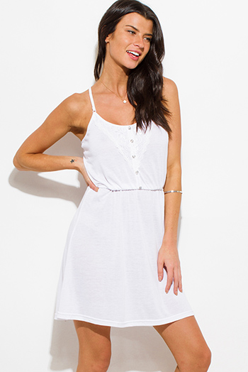 $15 - Cute cheap white one shoulder dress - ivory white spaghetti strap lace contrast racer back boho mini sun dress