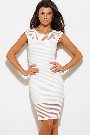 $20 - Cute cheap white mesh sexy party dress - ivory white stripe mesh boat neck cap sleeve fitted evening party cocktail midi dress