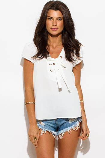 $15 - Cute cheap ivory white textured chiffon laceup tie front cap sleeve boho blouse top