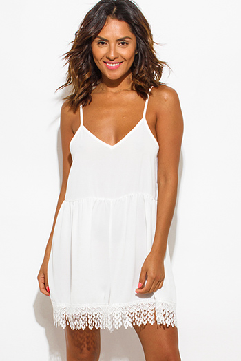 $15 - Cute cheap clothes - ivory white textured chiffon spaghetti strap crochet lace fringe hem boho romper jumpsuit