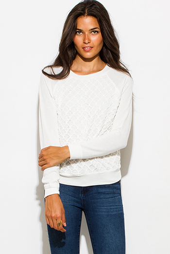 $15 - Cute cheap white crochet top - ivory white textured embellished crochet knit round neck long sleeve sweater top
