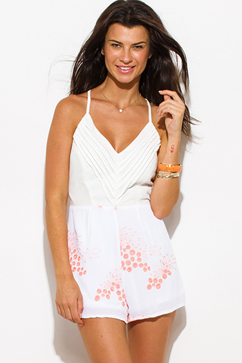 $15 - Cute cheap pink boho sexy party romper - ivory white tiered coral pink embroidered v neck racer back boho party romper jumpsuit