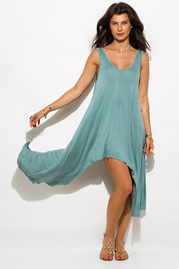 $15 - Cute cheap asymmetrical mini dress - Jade green jersey scoop neck high low asymmetrical hem mini sun dress
