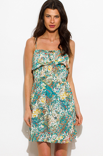 $15 - Cute cheap clothes - jade green multicolor abstract print ruffled boho mini sun dress