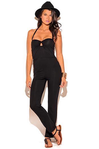 $15 - Cute cheap black strappy cut out halter neck sexy party swimsuit set - black cut out keyhole sweetheart fitted bodycon evening party jumpsuit