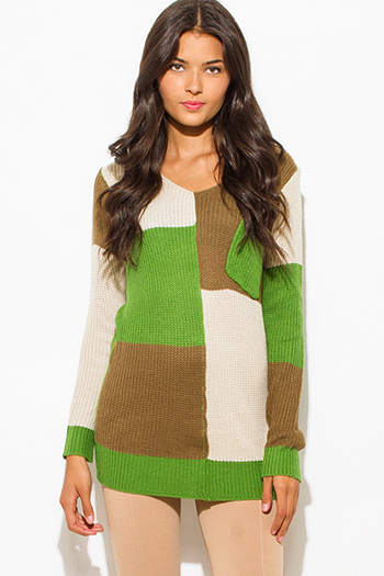 $15 - Cute cheap color block top - kelly green mocha brown color block long sleeve slouchy sweater knit tunic top