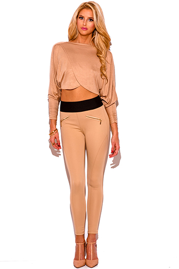 $15 - Cute cheap black high waisted zip up skinny fitted suiting trouser pants - khaki beige banded waist paneled fitted high waisted skinny pants