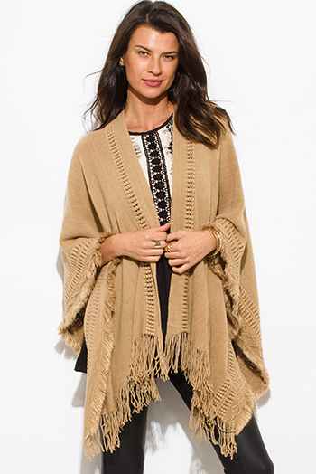 $15 - Cute cheap khaki beige crochet knit fringe trim open front shawl poncho cardigan jacket