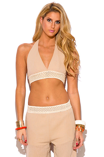 $7 - Cute cheap beige boho crochet top - khaki beige crochet trim cotton gauze boho resort halter crop top