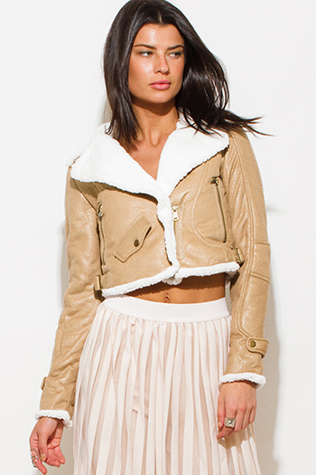 $25 - Cute cheap leather shorts - khaki beige faux fur collar vegan leather zip up biker moto jacket