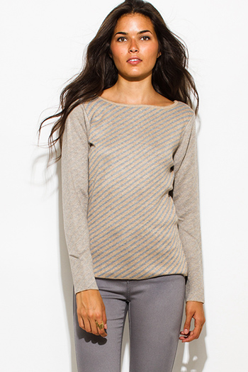 $20 - Cute cheap crochet long sleeve sweater - khaki beige fuzzy striped boat neck long sleeve sweater knit top