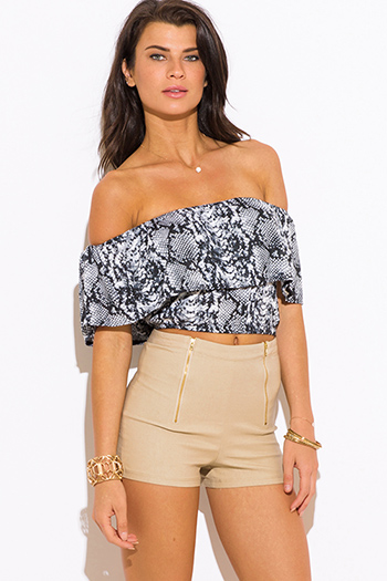 $15 - Cute cheap leather shorts - khaki beige golden zipper high waisted sexy clubbing shorts