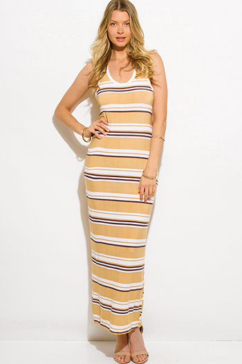 $12 - Cute cheap ruffle maxi dress - khaki beige multicolor striped sleeveless racer back bodycon maxi dress