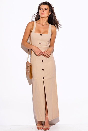 $25 - Cute cheap maxi dress - khaki beige fitted high slit militarty inspired suiting pencil maxi dress