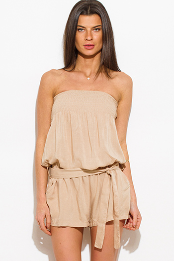 $15 - Cute cheap black strapless belted high waisted crochet jumpsuit - khaki beige strapless pocketed belted boho resort romper playsuit jumpsuit
