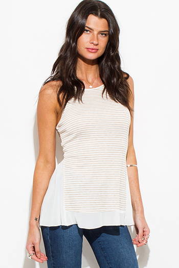 $10 - Cute cheap black wrap sexy party top - khaki beige stripe print halter chiffon hem racer back boho party tank top