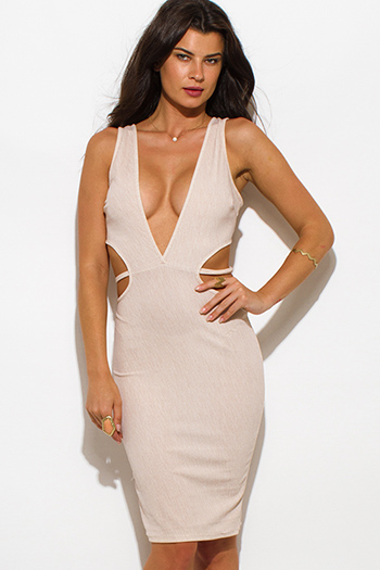 $20 - Cute cheap v neck fitted midi dress - khaki beige striped textured low v neck sleeveless cut out bodycon sexy clubbing midi dress