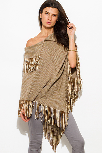 $25 - Cute cheap beige poncho - khaki beige two tone v neck boho fringe poncho sweater tunic top