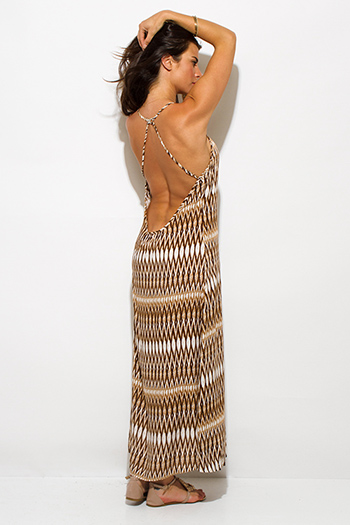 $15 - Cute cheap backless evening maxi dress - khaki brown abstract ethnic print backless bejeweled evening sexy party maxi sun dress