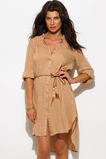 $15 - Cute cheap clothes - khaki brown sheer lace contrast button up high low hem boho blouse tunic mini dress