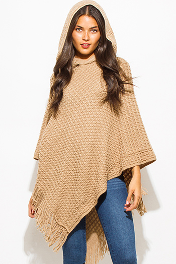 $20 - Cute cheap khaki camel beige basket weave hooded fringe trim sweater knit poncho tunic top