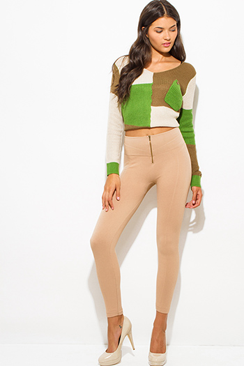 $15 - Cute cheap fitted leggings - khaki camel beige fleece lined golden zipper fitted high waisted leggings