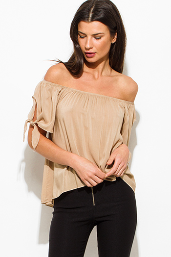 $15 - Cute cheap khaki camel beige off shoulder tie sleeve boho blouse top