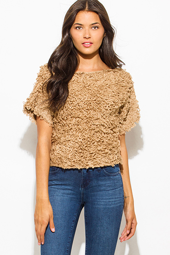 $10 - Cute cheap ivory white ribbed knit off shoulder short sleeve crop blouse top - khaki camel beige textured boat neck wide short sleeve sweater knit crop blouse top