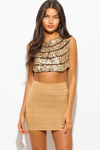 $10 - Cute cheap bodycon bustier sexy club catsuit - khaki tan beige ribbed knit bandage bodycon fitted club mini skirt