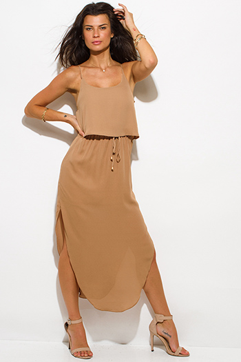 $20 - Cute cheap summer dress - khaki tan chiffon spaghetti strap tiered side slit evening sexy party maxi sun dress