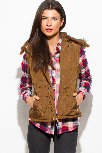 $25 - Cute cheap red quilted faux fur lined front zip banded hooded zipper pocketed crop puffer vest top - khaki tan quilted suede contrast faux fur lined golden button zip up hooded pocketed vest