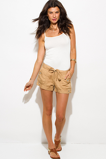$15 - Cute cheap khaki tan tencel pocketed buttoned waist tie lounge cargo shorts