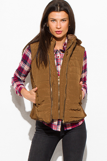 $25 - Cute cheap black gray faux fur sexy party vest top - khaki tan utilitarian zip up faux fur lined golden button zip up hooded pocketed puffer vest