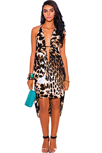 $25 - Cute cheap animal print dress - leopard animal print bejeweled deep v neck high low babydoll midi cocktail sexy party sun dress