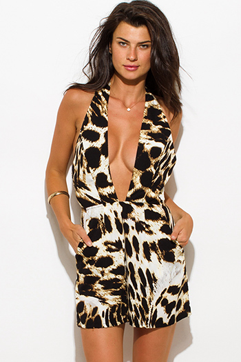 $15 - Cute cheap red yellow abstract print strapless sexy party jumpsuit 79510 - leopard animal print deep v neck pocketed halter party romper jumpsuit