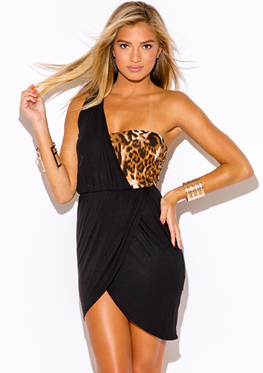 $10 - Cute cheap black draped dress - leopard animal print black one shoulder draped wrap slit sexy clubbing mini dress