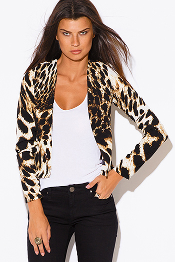 $20 - Cute cheap black collar mustard yellow blazer jacket 66327 - leopard animal print padded shoulder long sleeve open blazer jacket