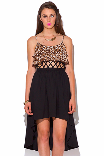 $10 - Cute cheap juniors dress high low dress for cheap 1.html - leopard animal print ruffle chiffon caged high low sexy party dress