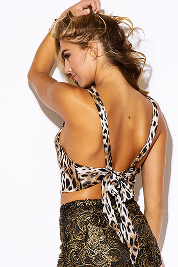 $10 - Cute cheap print sexy party top - leopard animal print sheer chiffon backless bow tie tank beach cover up party crop top