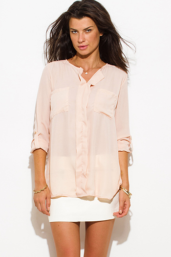 $15 - Cute cheap chiffon blouse - ligh blush peach pink chiffon quarter sleeve pocketed blouse top
