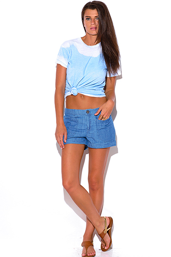 $10 - Cute cheap dark blue denim low rise crop jean capris 89367 - light blue chambray denim mid rise boxy boyfriend jean shorts