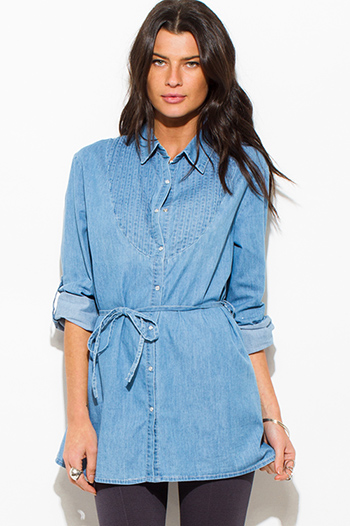$15 - Cute cheap light blue washed denim quarter sleeve snap button up blouse top - light blue denim button up sashed boho tunic blouse top