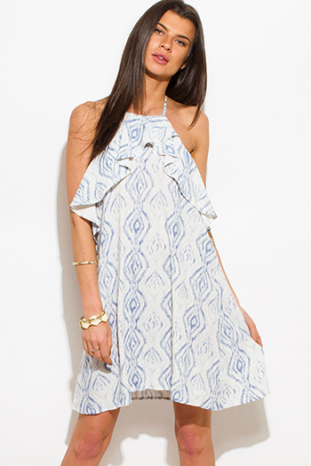 $15 - Cute cheap white evening sun dress - light blue ethnic print ruffle halter neck backless boho mini sun dress