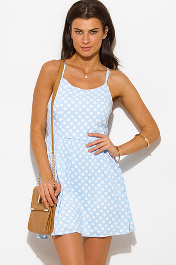 $15 - Cute cheap clothes - light blue polka dot a line laceup back boho mini sun dress
