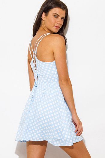 $15 - Cute cheap lace boho mini dress - light blue polka dot a line laceup back boho mini sun dress