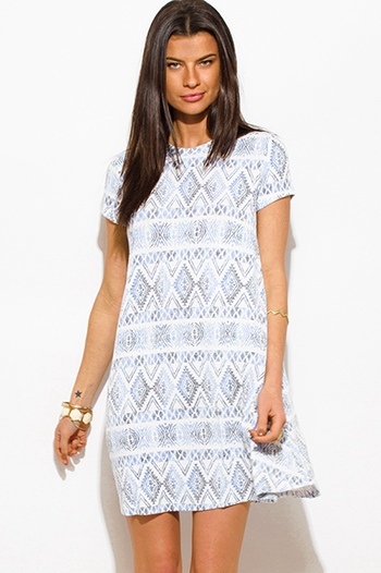 $15 - Cute cheap ethnic print backless dress - light blue tribal print ribbed knit short sleeve boho shift mini tunic dress