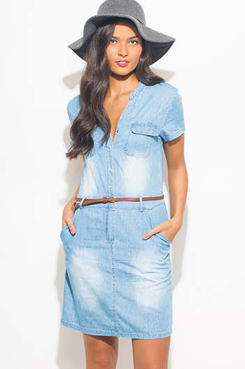 $20 - Cute cheap navy blue washed cotton lounge sporty shorts - light blue washed chambray short sleeve pocketed belted boho mini shirt dress