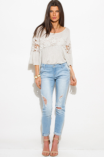 $25 - Cute cheap light blue washed denim distressed mid rise fitted ripped skinny jeans